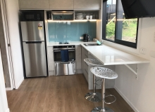 Kitchen with breakfast bar seating for 2
