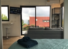 TV visible from bedroom & lounge
