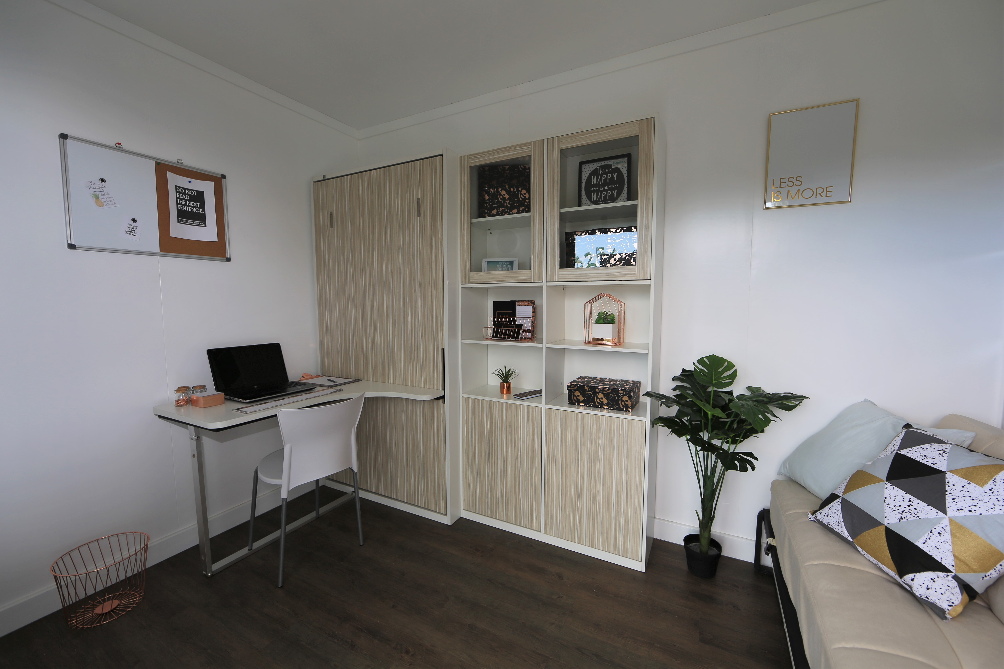 10m2 sleep-out furnished with Space Saving furniture